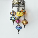 Art Deco Lantern Suspension Light Stained Glass 7 Lights Chandelier for Living Room Villa