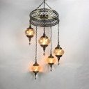 5 Lights Lantern Chandelier Vintage Style Swirl Glass Ceiling Pendant in Amber for Restaurant