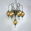 Antique Style Globe Chandelier 7 Lights Swirl Glass Hanging Light for Restaurant Dining Table