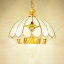 Dome Dining Room Hanging Light with Pull Chain Glass 6 Lights Elegant Style Pendant Lamp in Gold