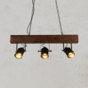 3 Heads Rotatable Island Light Industrial Wood Pendant Lamp in Black for Cloth Shop