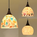 Shell Domed Shade Pendant Light Shop Dining Room Tiffany Style Small Ceiling Pendant