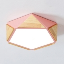 Acrylic Pentagon LED Ceiling Light Contemporary Flush Mount Light in Blue/Green/Pink for Study Room