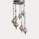 Lantern Shape Restaurant Chandelier Metal Stained Glass 7 Lights Art Deco Pendant Lamp in Brass