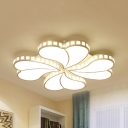 Kids Heart LED Flushmount Light with Crystal Metal White Ceiling Lamp with White Lighting/Third Gear for Kindergarten