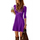 Womens Hot Fashion Simple Solid Color Cross V-Neck Long Sleeve Mini A-Line Dress