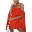Summer Hot Popular Simple Plain Orange Off the Shoulder Bell Sleeve Mini A-Line Dress