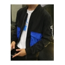 Guys Stylish Colorblocked Flap Pocket Stand Collar Long Sleeve Zip Up Casual Jacket