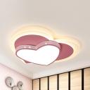 Cartoon Heart Shaped LED Ceiling Mount Light Metal 2-Tier Pink Flush Light for Girl Bedroom
