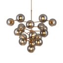 Coffee Shop Grape Pendant Light Smoke Glass 19 Lights Creative Brass Chandelier with Spherical Shade