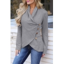 Stylish Irregular Button Embellished Long Sleeve Plain Casual Sweatshirt