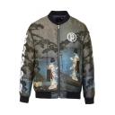 Dark Green 3D Figure Pattern Stand Collar Zip Up Slim Fit Jacket