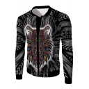 Mens Cool Lion Totem Print Long Sleeve Black Slim Fitted Jacket