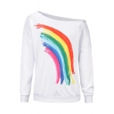 Cool Simple Rainbow Painting Oblique Shoulder Long Sleeve White Casual Sweatshirt