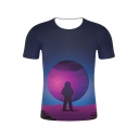 Space Astronaut 3D Printed Basic Round Neck Short Sleeve Regular Fit T-Shirt