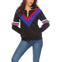 Womens Stylish Chevron Stripe Printed Ruffled Long Sleeve Half-Zip Lapel Collar Black Sweatshirt