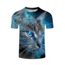 Summer 3D Galaxy Cat Printed Round Neck Short Sleeve Blue Tee