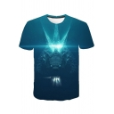 Popular Film King of the Monster 3D Printed Round Neck Short Sleeve Blue Tee