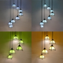Tiffany Stylish Pendant Light Craftsman 5/8 Lights Stained Glass Suspension Light for Restaurant