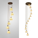Glass Bowl Shade Hanging Light 6/12 Lights Traditional Pendant Lamp in White for Swirled Stair