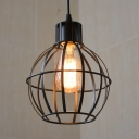 Spherical Wire Frame Restaurant Pendant Lamp Metal 1 Light Industrial Stylish Hanging Light in Black