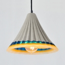 Dining Table Cone Pendant Light with Adjustable Cord Cement 1 Light Hanging Light in Gray
