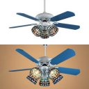 Tiffany Blue Semi Flush Ceiling Light Dome Shade 3/5 Lights Glass LED Ceiling Fan for Dining Room