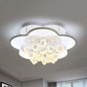 Nordic Pink/White LED Ceiling Mount Light Flower Metal Flush Light in Warm/Warm&White for Study Room