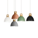 Single Light Dome Pendant Light Nordic Style Aluminum Candy Colored Hanging Light for Dining Table