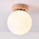 1 Light Globe Flush Ceiling Light Simple Style Opal Glass Ceiling Lamp in White for Bedroom