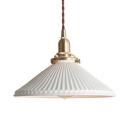 Simple Style Flute Cone Hanging Light 1 Light Ceramics Pendant Light in White for Shop Bar
