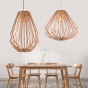 Rustic Style Diamond Hanging Light Wood 1 Light Beige Pendant Lamp for Restaurant Study Room