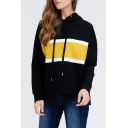 Fancy Color Block Long Sleeve Casual Sport Loose Pullover Black Hoodie