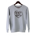 Street Letter BUN IN THE OVEN Printed Basic Round Neck Long Sleeve Casual Loose Sweatshirt