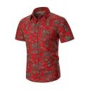 Mens Summer Trendy Tribal Pattern Spread Collar Short Sleeve Button Shirt
