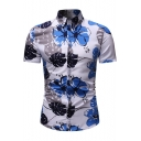 Chic Blue Floral Printed Mens Summer Short Sleeve Button Up Slim Shirt