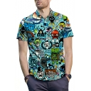 Summer Funny Cartoon Graffiti Short Sleeve Blue Casual Shirt for Men