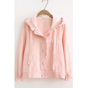 Girls Lovely Cartoon Rabbit Hooded Long Sleeve Ruffled Button Down Coat