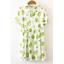 Summer Cute Allover Avocado Pattern Short Sleeve Button Front Mini Casual Shirt Dress for Girls