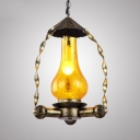 Cracked Glass Kerosene Hanging Light Restaurant 1 Light Antique Stylish Pendant Light in Heritage Brass