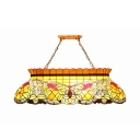 Tiffany Rustic Yellow Island Pendant with Grape 6 Heads Stained Glass Island Light for Billiard Table