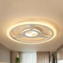 White Steering Wheel Ceiling Mount Light Modern Stylish Metal Third/Warm/White Ceiling Lamp for Bedroom