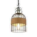 Rustic Stylish Birdcage Pendant Light 1 Light Metal Hanging Light in Black for Balcony