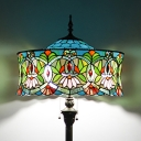 Tiffany Traditional Round Floor Lamp with Lotus 2 Lights Stained Glass Standing Light for Villa