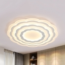 Modern White LED Flush Ceiling Light Flower Acrylic Third Gear/Warm/White Lighting for Hotel