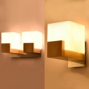 Nodic Style Frosted Glass Shade Wall Light Beside Table with Nature Rubber Wood Base