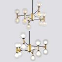 12 Lights Globe Shade Chandelier Modern Amber/Cream Glass Ceiling Pendant in Black for Living Room