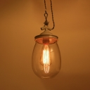 Hallway Stair Oval Shape Pendant Light Clear Glass 1 Light Industrial Hanging Lamp in Gray