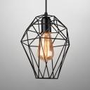 Antique Black Finish Pendant Light Wire Frame 1 Head Metal Hanging Light for Restaurant Hallway