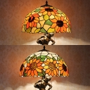 Study Room Sunflower Desk Lamp with Girl Stained Glass Resin Two Lights Brass Table Light
